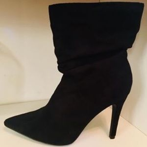 Black Suede High Heel Booties